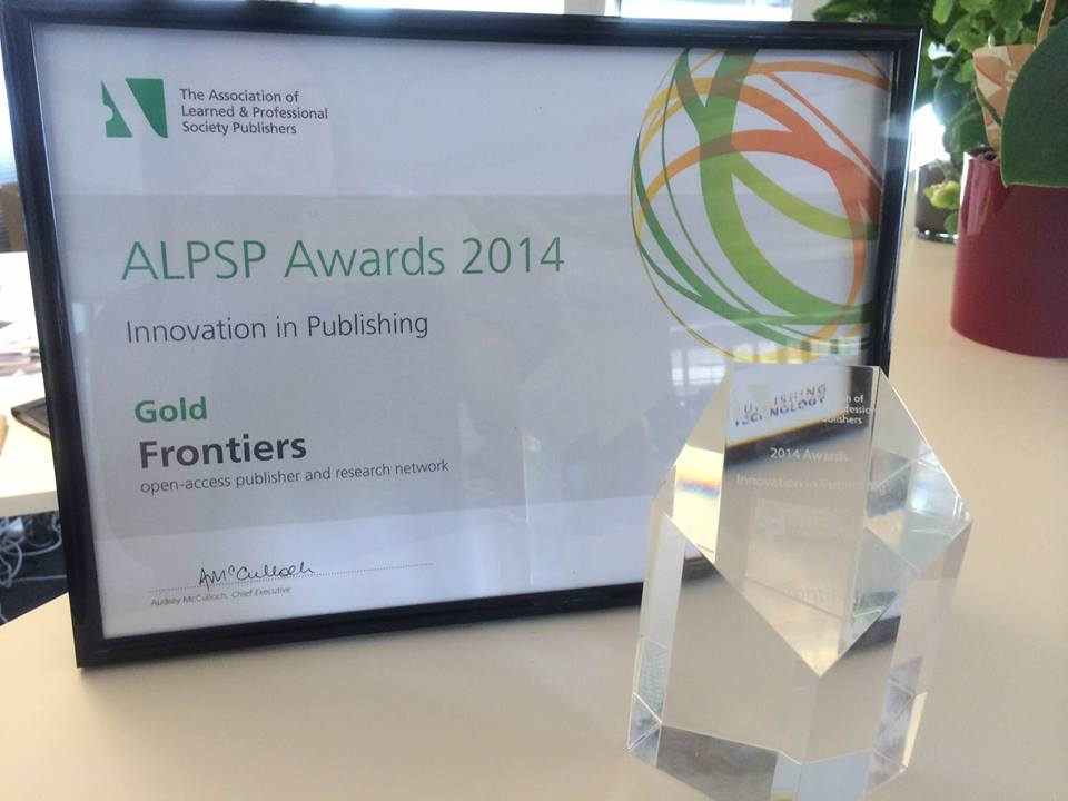 frontiers receives gold prize for the alpsp award for innovation in