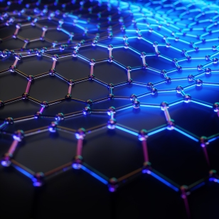 3d illustration of a graphene material molecular grid. Atoms connected in the hexagonal crystal lattice. A concept of carbon structure.