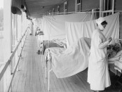 Image of flu ward in 1918 influenza pandemic. New challenges will affect the impact of the next flu pandemic, such as changing demographics, antibiotic resistance and climate change: Frontiers in Cellular and Infection Microbiology