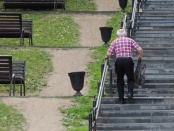 Image of old man climbing stairs. A new study finds elderly people with short chromosome caps, or telomeres, are more likely to have difficulty performing daily activities such as carrying groceries, climbing stairs and walking, regardless of geographical location, age, sex or weight -- suggesting that short telomeres are an independent risk factor for age-related functional decline: Frontiers in Physiology