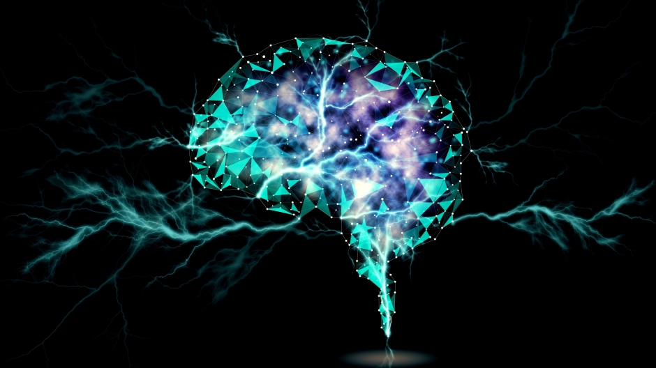 Abstract image of brain against black background