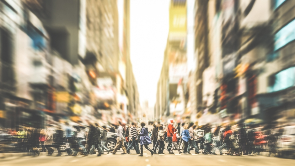 People walking on zebra crossing on 7th avenue in Manhattan - Crowded streets of New York City during rush hour in urban business area - Retro desaurated contrast filter with soft sharpness and focus