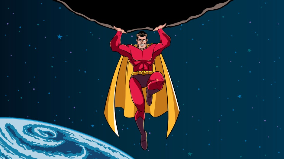 Image of a cartoon superhero. Research finds that priming people with superhero images increases their likelihood of engaging in prosocial behaviors: Frontiers in Psychology