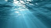 Sunbeams underwater background 3d illustration
