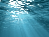 Sunbeams underwater background 3d illustration