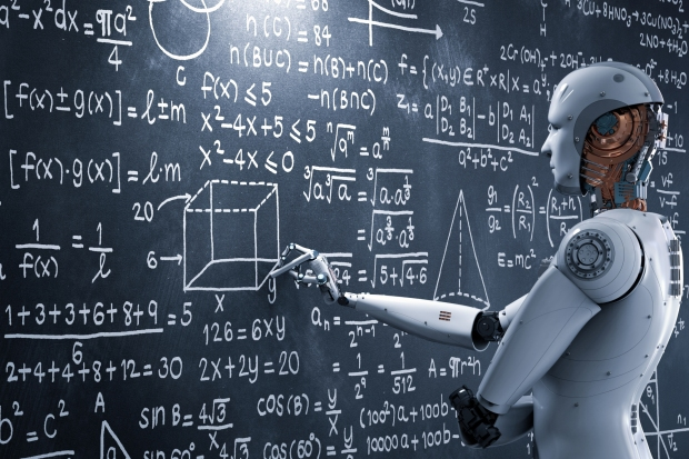 Robot solving mathematical problems on a blackboard