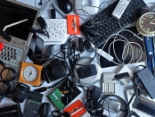 Pile of used Electronic Waste on white background, Reuse and Recycle concept, Top view