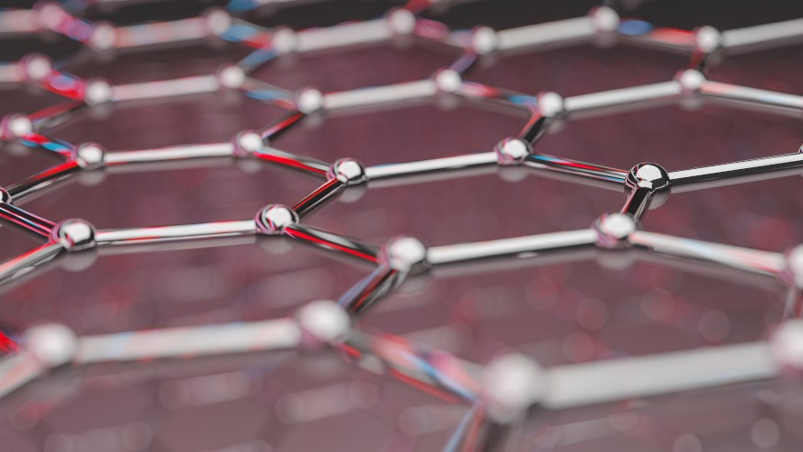 View of a graphene molecular nano technology structure on a background