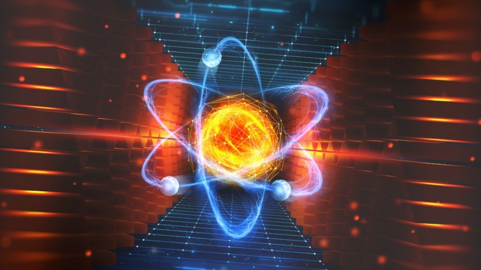 Creation of artificial intelligence. Experiments with the hadronic collider. Investigation of the structure of an atom. 3D illustration of an innovative breakthrough in science