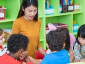 Asian female teacher teaching mixed race kids reading book in classroom,Kindergarten pre school concept