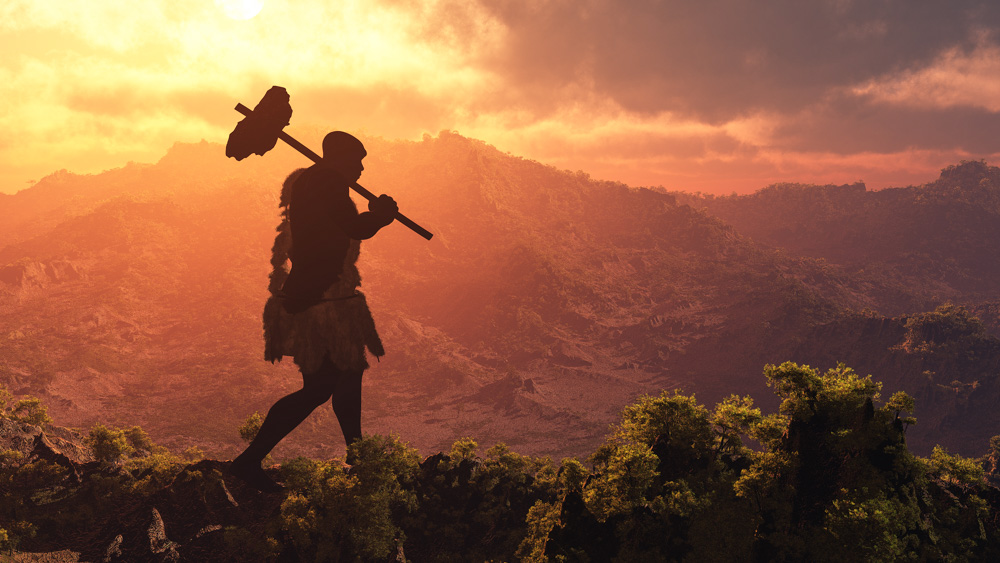 Image of early human walking in front of a sunset. A new study offers hypotheses about the influence of microbes on our early social and daily lives: Frontiers in Ecology and Evolution