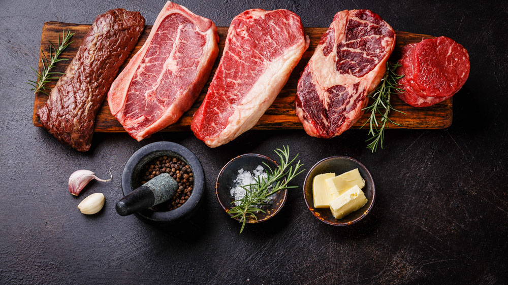 Image of cuts of beef. A study based on 43 online forums reveals symptoms, severity and time course of 'keto flu', associated with a low-carbohydrate, high-fat ketogenic diet: Frontiers in Nutrition