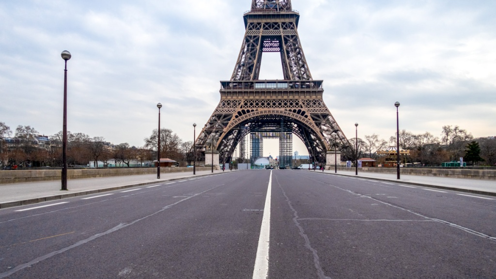 Image of empty Paris streets. Lockdown succeeded in reducing transmission, but existing cases and lack of herd immunity means the risk of a second wave is high: Frontiers in Medicine