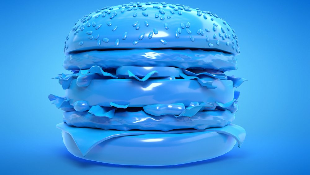 A 3D render of a blue burger against a blue background.