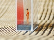 Figure of a woman in a red bathing suit inside a plastic rectangle on top of a fabric cloth.